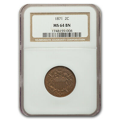 1871 Two Cent Piece MS-64 NGC (Brown) - SKU#176350
