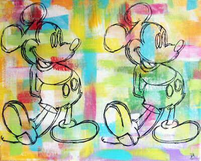 mickey warhol bis Tableau street pop art PyB french painting canvas signed