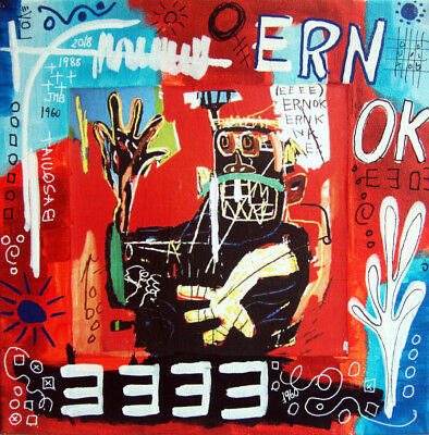 ERNOK Basquiat ext TABLEAU pop street art graffiti PyB french painting canvas