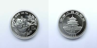 RARE once argent 10 yuan Yn silver BU panda chinois 1995 large twig RPC CHINE P2