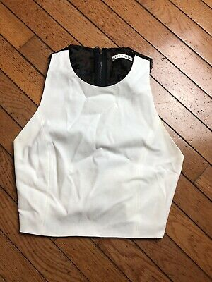 44559fd5854 Alice + Olivia Womens White Black Lace Applique Sleeveless Crop Tank Top 2