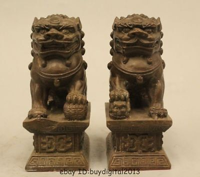 Pair Chinese Home Fengshui Bronze Guardian Lion Foo Fu Dog Male Female Statue
