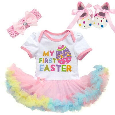 7be3b378db82 Baby Girls My 1st Easter Tutu Romper Dress Rabbit Bodysuit Outfit Clothes  3PCs