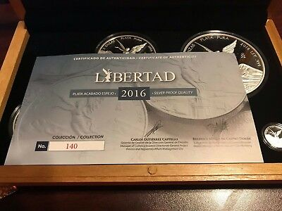 2016 Mexico Silver Libertad Magnificent 7 Coin Proof Set w/COA #140, mintage 250