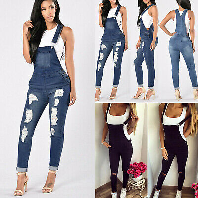 Womens Denim Dungarees Ladies Slim Fit Ripped Jeans Jumpsuit Rompers Plus Size 8