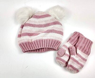 Gap Baby Toddler Girl Crazy Stripe Pom Pom Hat and Mittens set Pink Size XS  a9dab0d51d95