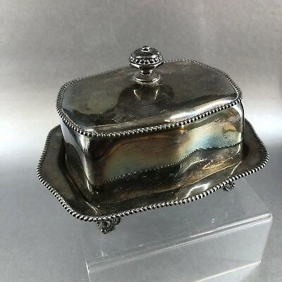 HS Benedict Quadruple Plate Silverplate Antique Covered Butter Dish Silver Table