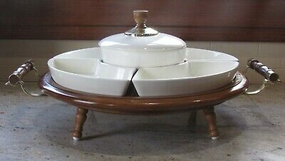 Vintage Wooden Lazy Susan Footed Handle Chip Dip Serving Tray Ceramic Dishes