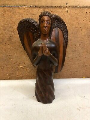 Antique Large Hand Carved Wood Angel Folk Art Open Wings Praying