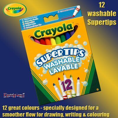 Crayola 12 Washable Supertips Felt Tip Pens - Conical Tip for Fine & Thin Lines