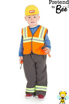 Kids Childrens Boys Construction Worker Builder Costume Outfit + Builders Hat