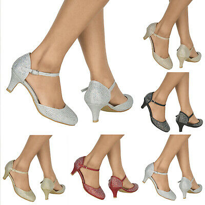 Womens Sparkly Diamante Mid Heel Strappy Wedding Evening Party Prom Shoes 3-8