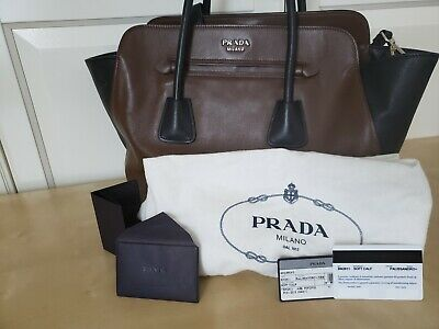 1fa86c8c980e Prada Soft Calfskin Large Shopping City Tote 2way Brown Black Leather BN2611