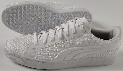 PUMA Basket Classic studded Shoes- NEW- White diamond retro leather  Sneakers- 47f22e80a