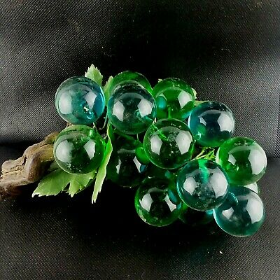 Vintage MCM Mid Century Blue Green Lucite Acrylic Grapes Cluster Wood Leaves
