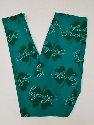 df1c20ede17cf7 New LuLaRoe Magically You Leggings OS One Size St Patrick's jade green  clover