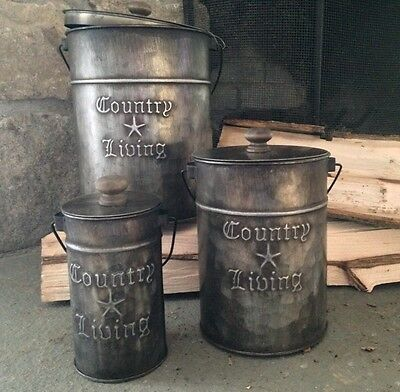 "Primitive Country Rustic "" COUNTRY LIVING "" Metal Canisters With Lids/ Set Of 3"