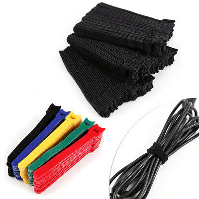 Lot 15012mm Cable Ties Fastening Tape Strap Reusable Tie Hooks Loops Z5C4