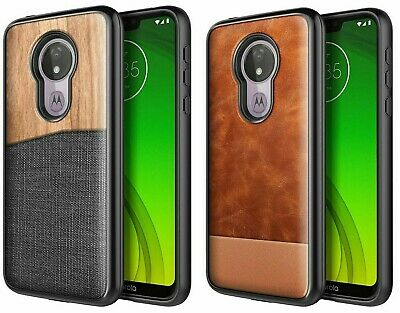 Motorola Moto G7 Power/Play Shockproof Canvas Leather Case Cover +Tempered Glass