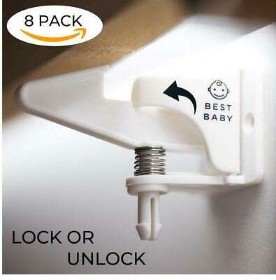 8PACK Cabinet Locks Child Safety | Child Proof Cabinet Locks | Locking Cabinet