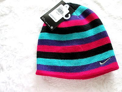 6c2a9ebd8fe NIKE SWOOSH Girl s Multi Colored Knit BEANIE HAT 4 6X Black Pink Purple  Teal NWT