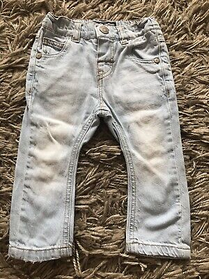Next Baby Boys Light Denim Blue Skinny Legs Jeans 6-9 Months Adjustable Waist