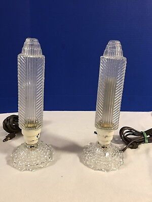 Set Of 2 Antique Clear Etched Cut Glass Tower Tube Art Deco Lamps Early 1900s