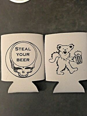 Grateful  Dead Dancing Bear, Steal your Beer 2 sided Beer koozie FREE shipping!