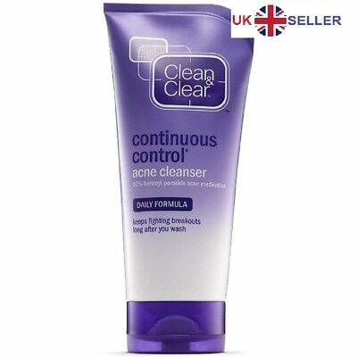 Clean & Clear 10% Benzoyl Peroxide Continuous Control Acne blemish face wash 5oz