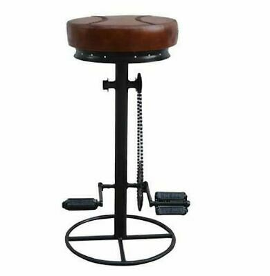 Industrial Bicycle Cast Iron Bar Stool Leather Seat Kitchen Counter Chair Rustic