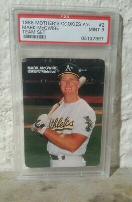 Mark Mcgwire 1988 Mothers Cookies Baseball Card 2 As Psa 9 Mint Graded Rare
