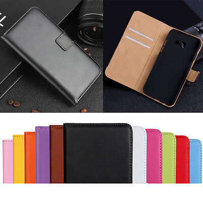 For Samsung Galaxy A3 A5 A7 2017 A5 2016 Genuine Leather Flip Wallet Case Cover