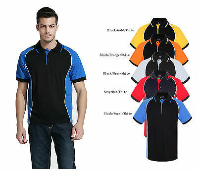 Men's poly cotton contrast panel with piping polo shirts team wear,uniform S-6XL