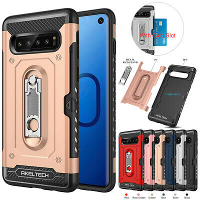 Hybrid Shockproof Hard Cover Card Slot Stand Case For Samsung Galaxy S10 Plus