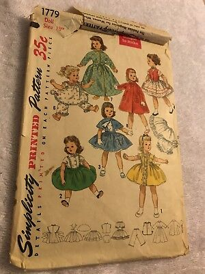 "Vintage Simplicity Doll Clothes 18"" Pattern 1779 For Sweet Sue Binnie Cut 1950's"