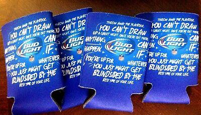4 Bud Light NFL Football BEER Can Bottle Koozie Up For Whatever Coozie New