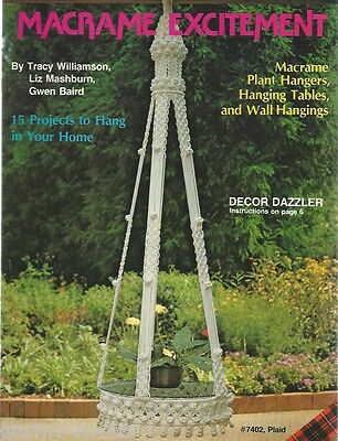 Macrame Excitement Wall Hanging Tables Plant Hangers Vintage Pattern Book NEW