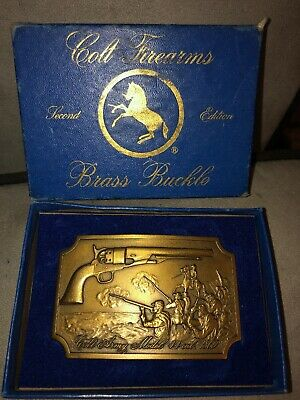 Vintage COLT Army MODEL 44 CAL 1860 BRASS Belt BUCKLE w/ORIGINAL Box 2nd EDITION