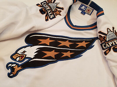 3ce19bd0f6b Washington Capitals Jersey white starter Mens Large screaming eagle blue  stripe