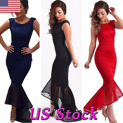 Sexy Woman's Fishtail Mermaid Elegant Bodycon Dress Party Evening Cocktail Prom