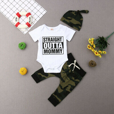 Outfits & Sets Responsible Newborn Baby Kids Boys Clothes Romper Bodysuit Camouflage Pants Hat Outfits Set