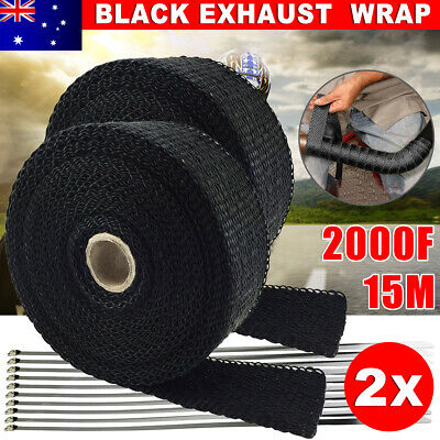 2PCS 15M*50mm Heat Resistant 2000F Exhaust Wrap 10 Stainless Steel Ties