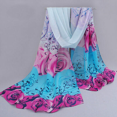 Fashion Lady Women's Long Soft Wrap Lady Shawl Silk Rose Printing Chiffon Scarf