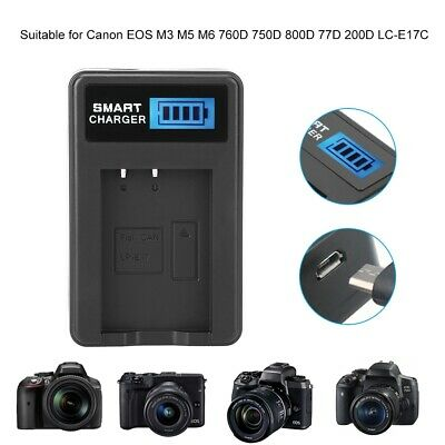 LP-E17 Battery Charger Single Slot USB Charging w/LCD Screen for Canon EOS M3 M5