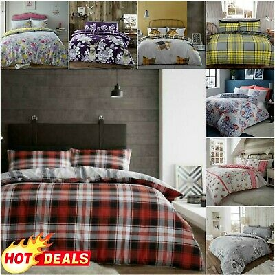 FLANNELETTE DUVET COVER SET Quilt Thermal Bedding 100% Brushed Cotton Pillowcase