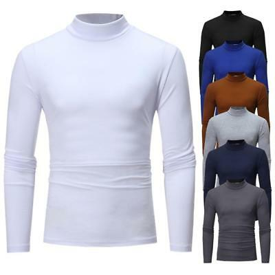 Men's Thermal High Collar Round Neck Long Sleeve Sweater Stretch Shirts Tops ☆ ☆