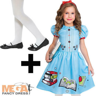 Clever Little Book Worm + Tights Girls Fancy Dress Matilda Kids Book Day Costume