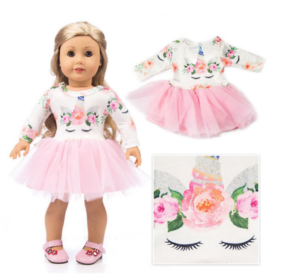 Doll Clothes Unicorn Tulle Dress For 18 inch Girl Our Generation My Life Dolls F