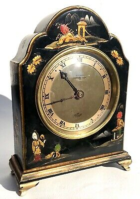 Lovely Elliott Of London Black Lacquered Chinoiserie Mantel Clock Japanned