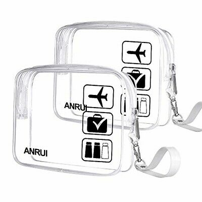 2pcs/Pack ANRUI Toiletry Bag w/ Strap TSA Approved Carry On Airport, Transparent